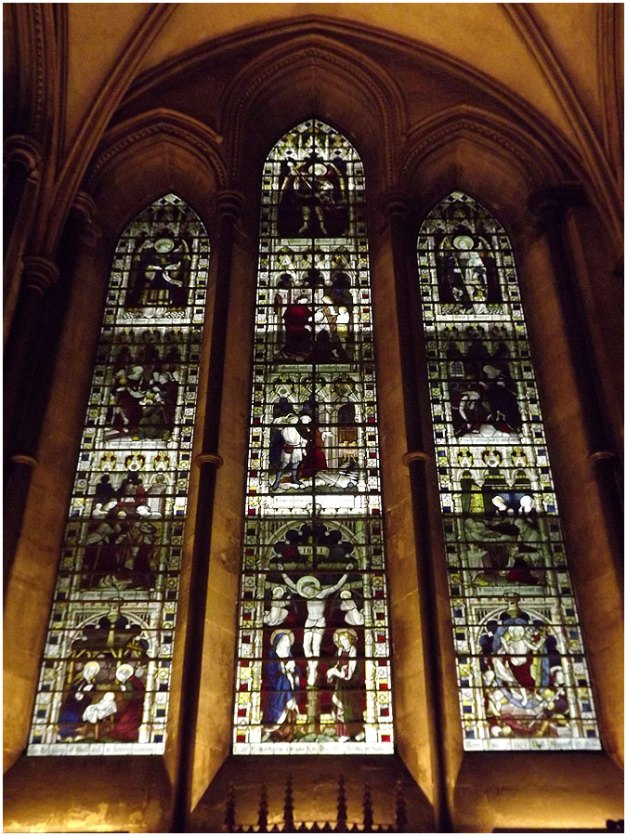 One of many a stain glassed window of the cathedral.