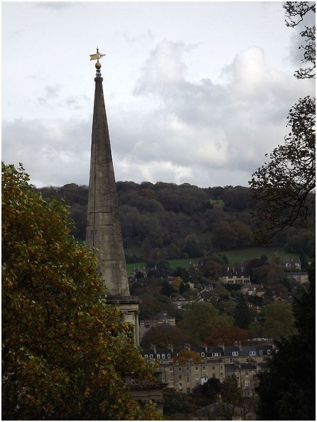 The spire of St. Swithin's Church taken from Hedgemead Park.