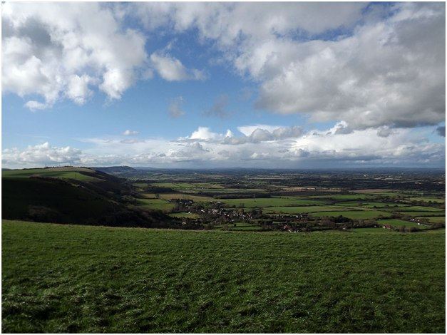 Devil's Dyke (to the left) is a 100m deep V-shaped valley on the South Downs Way in southern England, near Brighton and Hove. Devil's Dyke was a major local tourist attraction in the late 19th and early 20th century.