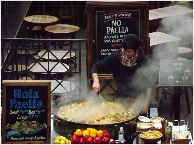 A BIG paella in the making at Covent Gardens.